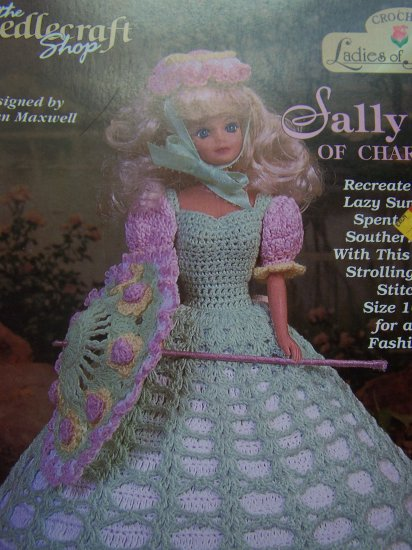 "Crochet Pattern Sally Ann of Charleston 11 1/2"" Barbie Fashion Doll Dress"