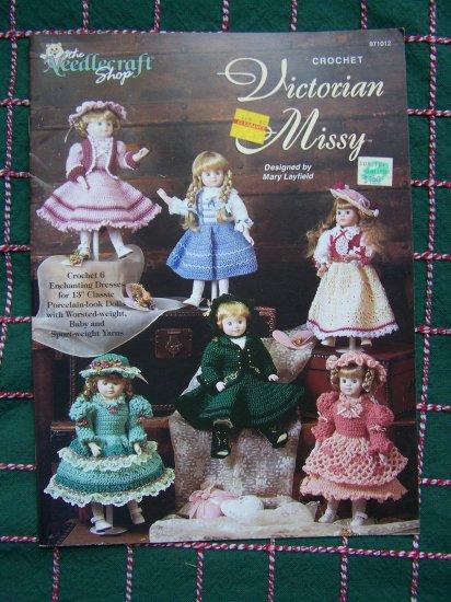 "6 Crochet Patterns Victorian Missy 13"" Porcelain Look Dolls Dresses"