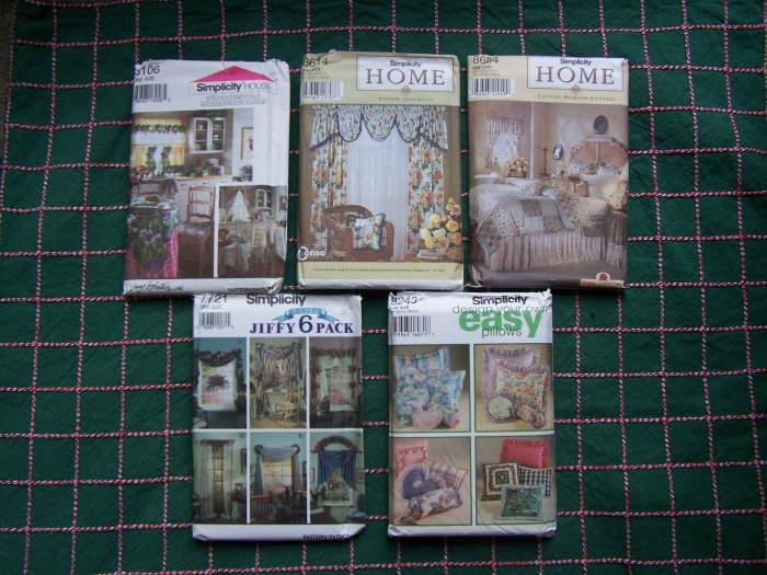 1 Cent USA S&H Home Decor Sewing Patterns Simplicity 8106 8614 8684 7721 9243 Your Choice