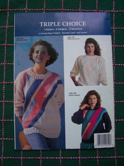 90's Bernat Handicrafter # 700 Knitting Patterns Triple Choice Womens Pullover Sweaters
