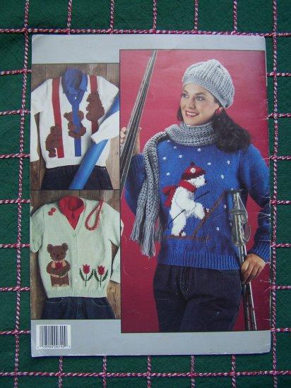 Vintage Misses Bear Sweaters to Knit Panda Sherlock Climbing Skiing Teddy Bears LA 790