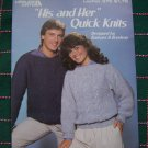 USA 1 Cent S&H Vintage 80's His & Hers Quick to Knit Sweater Knitting Patterns 376