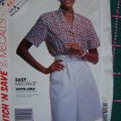 $1 USA S&H Easy Vintage Misses Culottes SUmmer Button Blouse 10 12 14