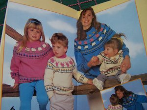 $1 USA S&H Vintage 80's Knitting Patterns Childrens Sweaters Dragon Cat Panda Animals