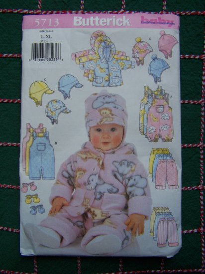 1 Cent S&H USA Butterick Babies Infant Winter Wardrobe 5713 Large XLarge