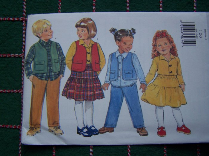 1 Cent USA S&H Toddlers 1 2 3 Sewing Pattern Vest Button Up Shirt Flared Skirt Pants 6363