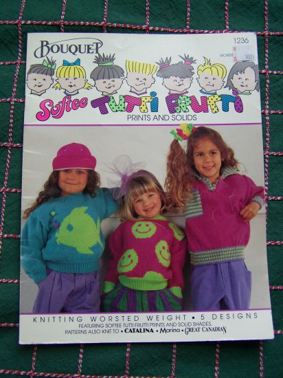 5 Vintage Girls Knitting Patterns Sizes 2 4 6 8 10 12 Fish Happy face Fair isles