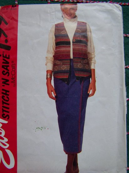 Womens Plus Size Lined Vest Straight Wrap Skirt 14 16 18 20 Sewing Pattern 7214