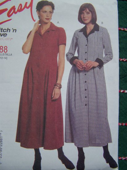 Easy McCalls Sewing Pattern 2288 Long Dress Short or Long Sleeves 8 10 12 14