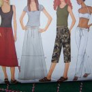 Misses 12 14 16 Sewing Patterns A Line or Flared Skirts Drawstring Capri Straight Leg Pants 6603