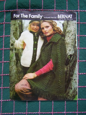 Bernat Vintage 70's Knitting Patterns Sweaters for Family Mens Misses Kids Book 209