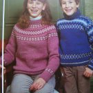 1 Cent USA S&H Children's Vintage KNitting Patterns Jacquard Pullover Sweaters 495