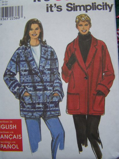 Misses XS S M L XL Sewing Pattern Shawl Collar Coat Jacket Fleece Fabric 8467
