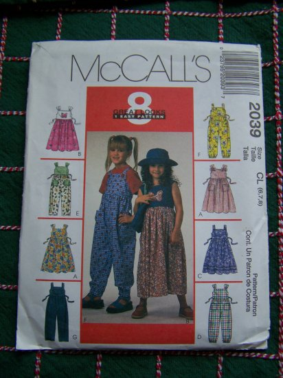 Girls 6 7 8 Sewing Pattern 8 Great Looks Flared Jumper Dress Jumpsuit 2039