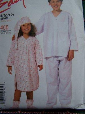 Easy Children's 2 4 6 7 Pajamas Sewing Patterns 2455 Nightshirt Pjs Hat Bootees