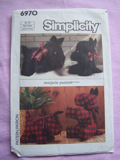 Vintage Sewing Pattern Scottie Stuffed Dog Plaid or Fur animal Toy 6970