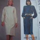Sz 10 Helen Lee Misses Sewing Pattern Straight Slim Dress Stand Up Collar 8753