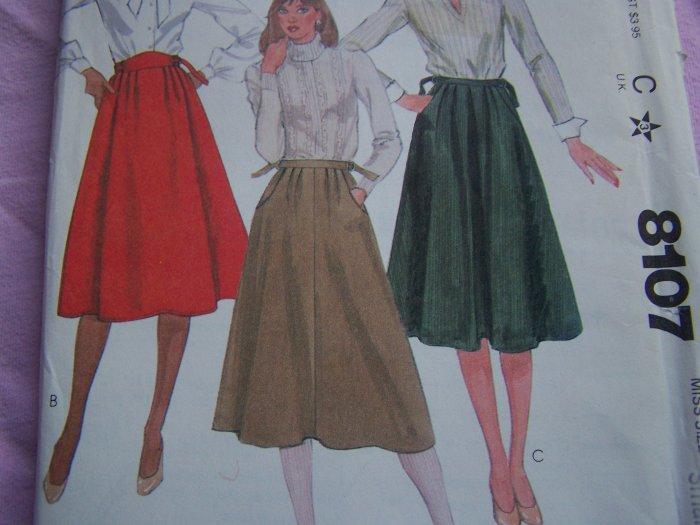 Misses 10 12 Vintage Skirt Sewing Pattern D Ring Waistband Adj Belt 8107