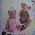 S M L XL Infant Boys or Girls Faux Fur Collar Jumpsuits & Hats Sewing Pattern 9625