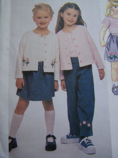Toddler Girl 2 3 4 Sewing Pattern Cardigan Top Pull on Pants & Skort 2307 McCall's
