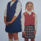 1 Cent S&H USA Easy Girls 3 4 5 6 School Uniform Vest Skort Sewing Pattern 2275