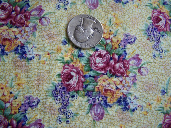 2 + Yards New Daisy Kingdom Cotton Golden Yellow Floral Fabric Welbeck Allover 3947 Roses Pansies