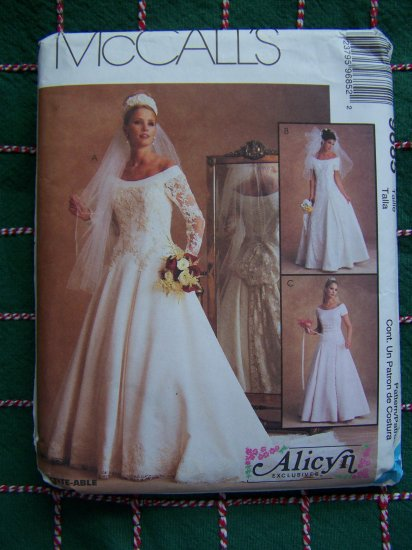 Alicyn 8 10 12 Sewing Pattern Satin & Lace 1990's Wedding Gown Off Shoulder 9685
