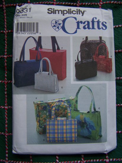 McCall's Crafts Sewing Pattern Hangbags Tote Bags All Sizes 8331