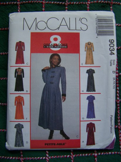 McCalls 8 Great Looks Dresses Sewing Patterns 8 10 12 Easy Fitting Dress 9034