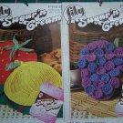 1 Cent USA S&H  Lily Lot Crochet Patterns Potholders Lemon Strawberry Grapes + Dishcloths