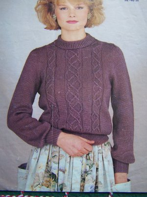 Vintage Jaeger Knitting Pattern Cable Knit Panelled Misses Sweater 1 Cent USA S&H