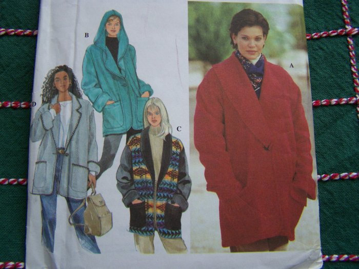 Misses L XL Sewing Patterns 2 Hour Unlined Jackets Button Up Shawl Collar 9744