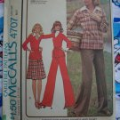 Misses Sz 14 Vintage 70's Sewing Pattern Pullover Top Pants SKirt Collar Dickey 4707