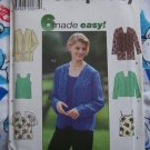 Misses 6 Easy Sewing Patterns Open Front Cardigan Jacket Twin Set Tank Top Cami SHirts 12 14 16