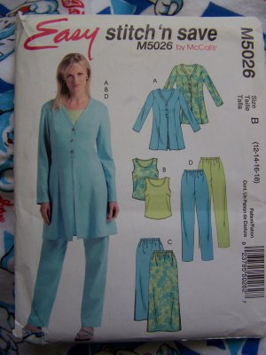 Free USA Shipping Easy McCall's 5026 Sewing Pattern Tunic Jacket Top Pants Skirt 12 14 16 18