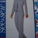 Free S&H US Misses Sewing Pattern Easy Unlined Above Hip Jacket Straight Leg Pants 12 14 16