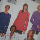 Misses XS S M Sewing Pattern Long Sleeve Tops SLit Hem Collar Variations 3657