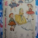 "1950's Vintage Sewing Pattern 14"" Doll Outfits Circle Dress Skirts Hat Ruffled Shirt 3729"