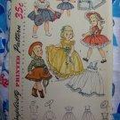 "1950's Vintage Sewing Pattern 14"" Doll Outfits Circle Dress Skirts Hat Ruffled Shirt 3729"