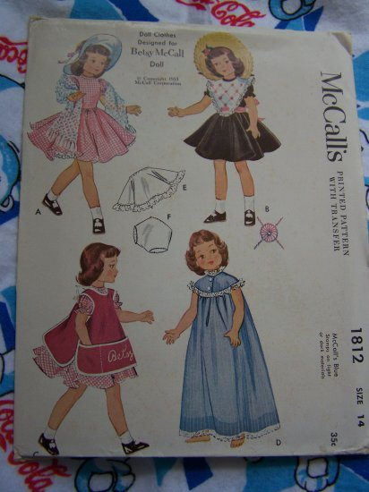 50's Vintage Sewing Patterns Doll Clothes Betsy McCall Toni Miss Curity Harriet Hubbard Ayer 1812