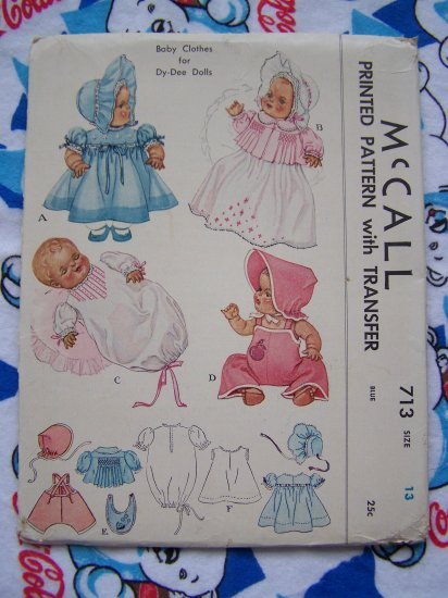 1940 S Vintage Sewing Patterns Baby Doll Clothes Dy Dee