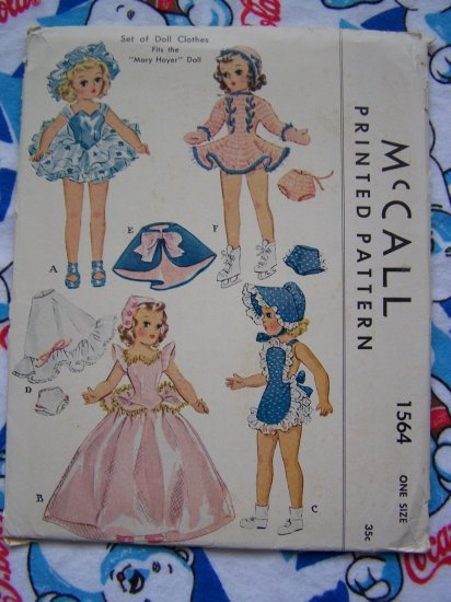 1950's Vintage Dolls Clothing Sewing Patterns Uncut Original Mary Hoyer 14 inch 1564