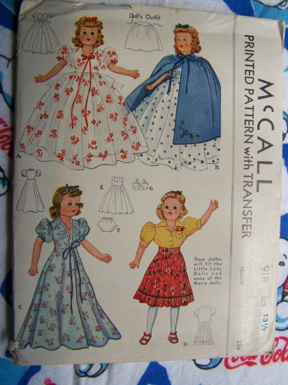 New 1940's Vintage Doll Sewing Patterns Gown Dress Cape Negligee Skirt Bra Panties Slip 918 McCall