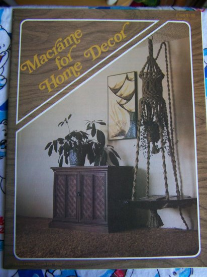 70's Vintage Macrame Patterns for Home Decor Door Curtains Lighted Table Mushrooms