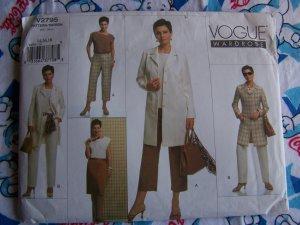 New Vogue Sewing Pattern 2795 Sz 14 16 18 Misses Suit Jacket Top Skirt Pants