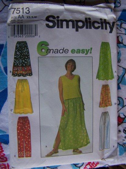 FREE USA S&H Misses Skirts & Pants Sewing Patterns Elastic & Drawstring Waist XS S M 7513