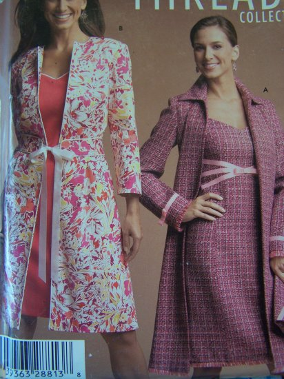 0 USA S&H 4693 Simplicity Threads Sewing Pattern Lined Dress & Coat Purse 6 8 10 12