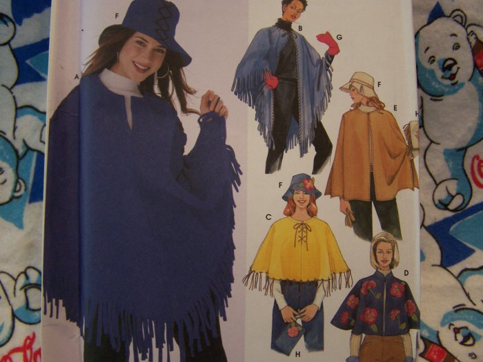 Easy to Sew Misses Sewing Pattern 5349 Poncho Purse Hat Mittens Winter Outerwear XS S M