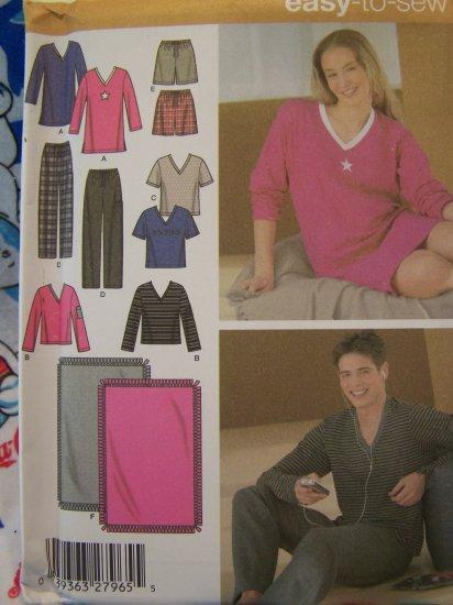 Easy Unisex XS S M Pajama Lounge Wear Sewing Pattern Pants Shorts Nightshirt Top Blanket 4957
