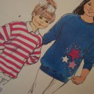 Girls Vintage Kwik Sew Pattern 4 5 6 7 Sweatshirt Fleece or Knit Long Sleeve Shirts 1691